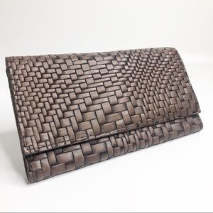Patricia Nash Brown Woven Leather Tri-Fold Wallet